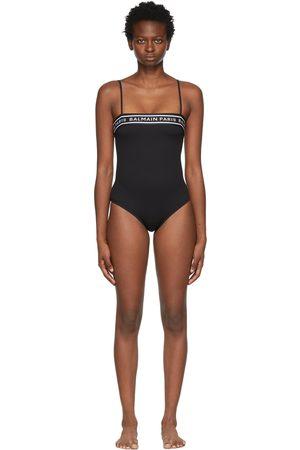Balmain Black Logo Tape One-Piece Swimsuit