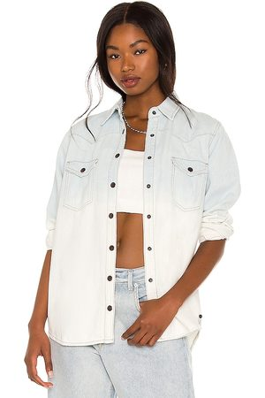 ONE TEASPOON Bleached Out Western Denim Shirt in - Blue. Size L (also in M, S, XL, XS).