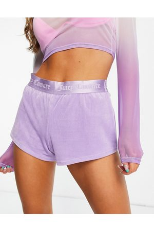 Juicy Couture Donna Pantaloncini - Pantaloncini in velour a coste lilla