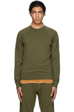 TOM FORD Uomo Felpe - Green Garment-Dyed Regular-Fit Sweatshirt