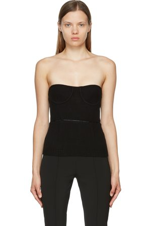 Helmut Lang Donna Bustiers - Black Wool Body-Mapping Bustier