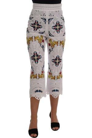 Dolce & Gabbana Majolica Cutout Capri Pants , Donna, Taglia: 40 IT