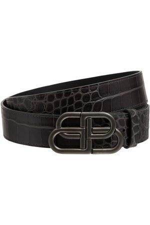 Balenciaga Cintura In Pelle Stampa Coccodrillo 3.8cm