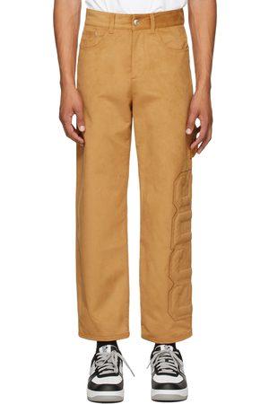 GCDS Tan Faux-Suede Logo Trousers