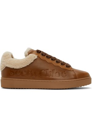 See by Chloé Tan Leather & Shearling Essie Sneaker