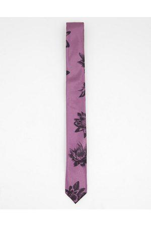 Bolongaro Cravatta skinny rosa scuro a fiori