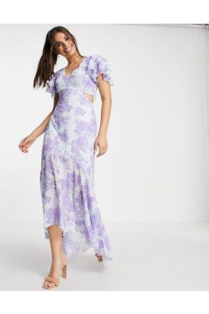 Lipsy London Vestito lungo viola a fiori con cut-out profondo