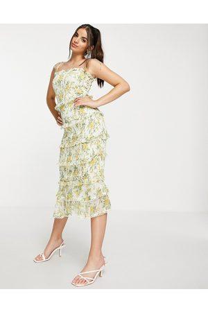 Lipsy London Donna Vestiti da sera - Vestito midi arricciato con stampa