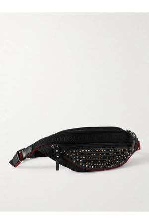 Christian Louboutin Spiked Mesh-Trimmed Leather Belt Bag
