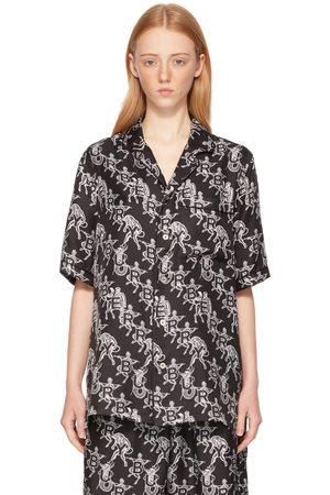 Burberry Donna Camicie - SSENSE Exclusive Black Mythical Alphabet Silk Logo Short Sleeve Shirt
