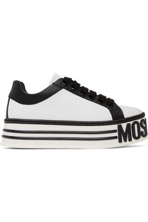 Moschino White & Black Leather Logo Platform Sneakers