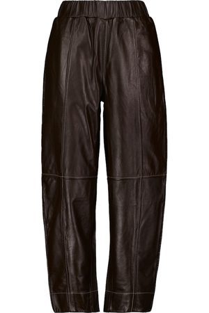 Ganni Pantaloni in pelle a gamba larga
