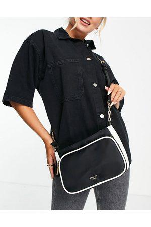 Dune Borsa a tracolla nera in nylon con tasca