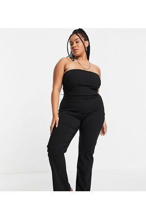 COLLUSION Donna Tute e salopette - Plus - Tuta jumpsuit a fascia in bengalina nera con fondo ampio
