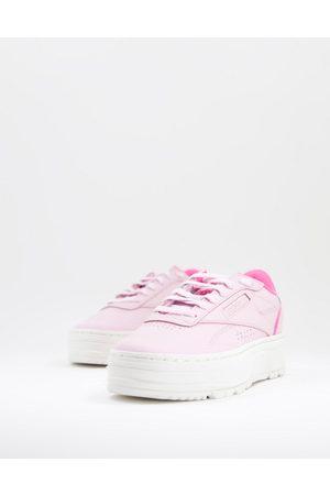 Reebok Club C Double Geo - Sneakers rosa con plateau