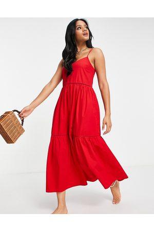 Accessorize Donna Vestiti lunghi - Vestito lungo a balze in popeline
