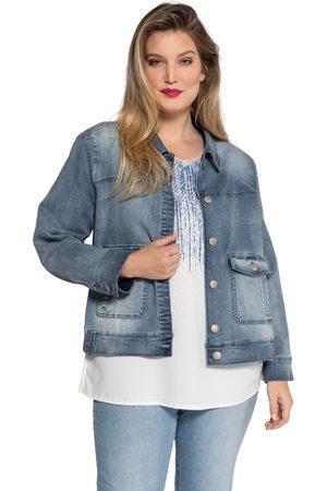 Ulla Popken Giacca di jeans con colletto da camicia e orlo elastico