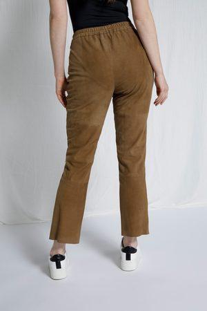 Ulla Popken Pantaloni di pelle scamosciata con cuciture decorative e cintura comoda