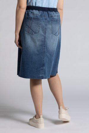 Ulla Popken Gonna di jeans dal taglio a cinque tasche con cintura elastica e galloni