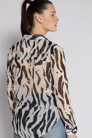 STUDIO UNTOLD Blusa oversize animalier con colletto da camicia e maniche lunghe