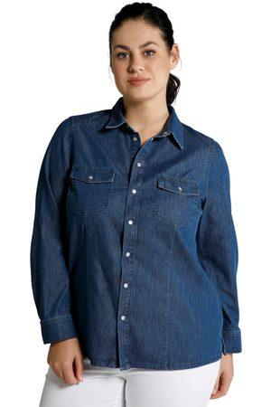 Ulla Popken Blusa di jeans dalla vestibilità classica con colletto da camicia e maniche lunghe