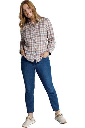 Ulla Popken Blusa a quadri con colletto da camicia e maniche lunghe