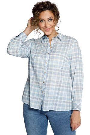 Ulla Popken Donna Camicie a maniche lunghe - Blusa a quadri con colletto da camicia e maniche lunghe