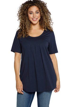 Ulla Popken T-shirt svasata di modal con pieghe decorative