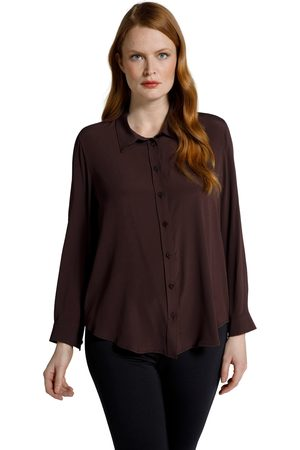 Ulla Popken Blusa di misto seta con colletto da camicia e maniche lunghe
