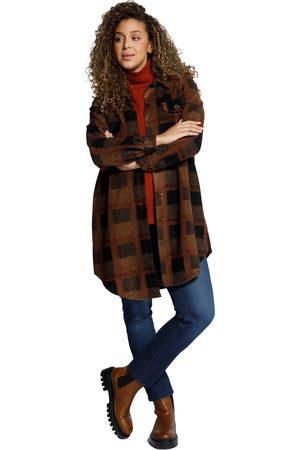 Ulla Popken Giacca a quadri con colletto da camicia e spacchetti laterali