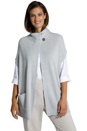 Ulla Popken Cardigan oversize di morbida maglia a costa inglese con colletto alto