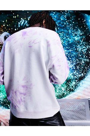ASOS Felpa oversize tie-dye con motivo a spirale, colore viola