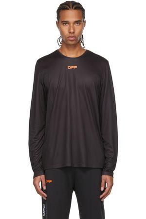 Off-White Uomo Top - Black & Orange Active Logo Mesh Long Sleeve T-Shirt