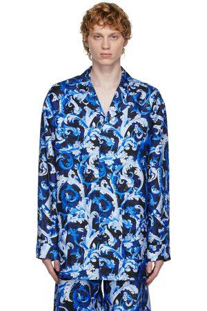 Versace Underwear Blue Silk Baroccoflage Shirt