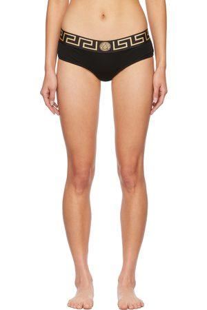 Versace Underwear Black Greca Border Thong
