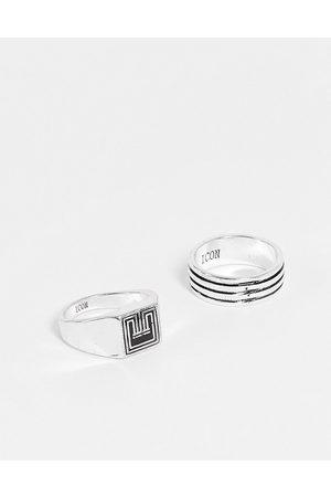 Icon Brand Confezione da due anelli stile art déco color