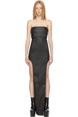 Rick Owens Donna Bustiers - Black Leather Bustier Long Dress
