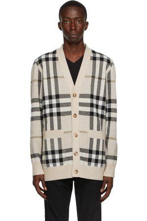 Burberry Beige Cashmere Check Jacquard Cardigan