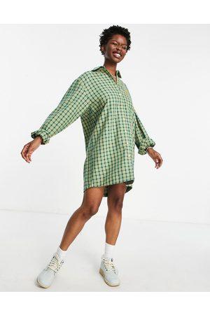 Kickers Vestito camicia oversize a quadri vintage con logo ricamato sulla tasca