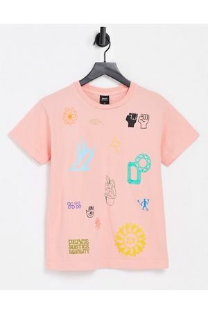 """Obey T-shirt comoda con stampa """"love and peace"""""""