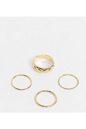 Orelia Confezione multipack di 4 anelli sovrapponibili color con anello lavorato a fascia larga