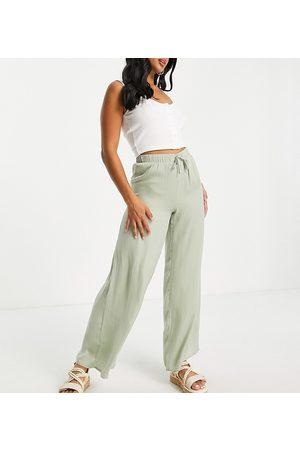Vila Petite Donna Leggings & Treggings - Pantaloni a fondo ampio effetto seta salvia