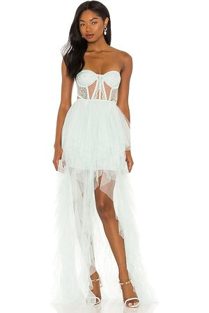 For Love & Lemons Donna Bustiers - X REVOLVE Bustier Hi Low Gown in - Mint. Size L (also in S, XS, M, XL).