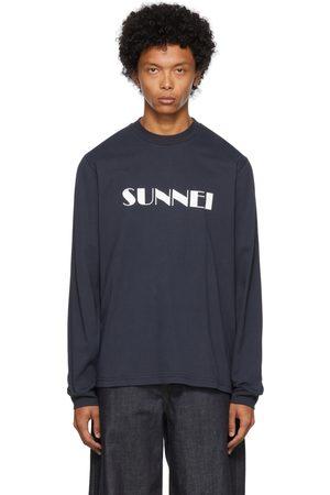 Sunnei Navy Logo Print Long Sleeve T-Shirt