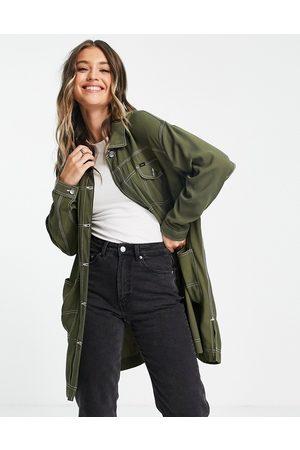 Lee Jeans Lee - Cappotto di jeans stile spolverino lungo oliva con cuciture a contrasto