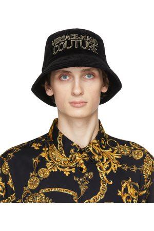 VERSACE Uomo Cappelli - Black Velvet Logo Bucket Hat
