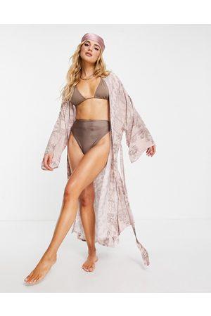 ASOS Kimono da mare con cintura e stampa fantasia