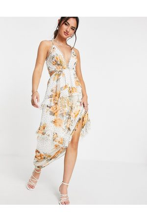ASOS Donna Vestiti da sera - Vestito lungo a canottiera con schiena scoperta e finiture a cerchietti a fiori