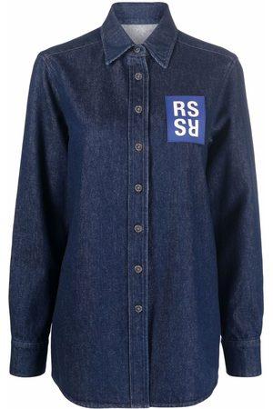 RAF SIMONS Camicia denim con logo