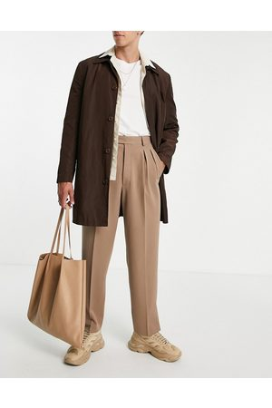 ASOS Pantaloni eleganti slim a vita alta color pietra con doppia piega e spacco sul fondo-Neutro